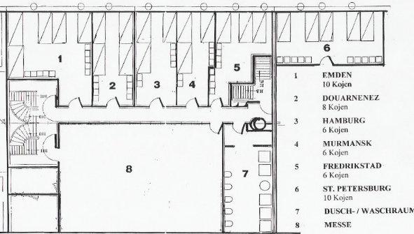 Technische Zeichnung Bett viermastbark sedov